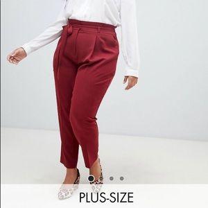 Paper bag high waist pants